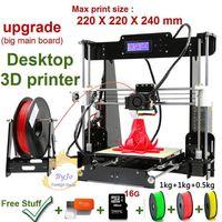 Wholesale usb printers - New Upgrade desktop 3D Printer Prusa i5 Size 220*220*240 mm Acrylic Frame LCD 2.5Kg Filament 16G TF Card for gift Big main board 3D Printers