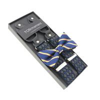ingrosso gli uomini stampano le bretelle-Novità Bretelle stampate Grid Bowtie Set Uomo 6 Bottoni Bretelle Vintage per pantaloni Marito Maschio Suspensorio
