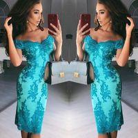 Wholesale lilac aqua dresses - Modern Aqua Lace Appliques Sheath Cocktail Dresses 2018 Sexy Backless Off Shoulder Knee Length Short Prom Evening Gowns Arabic