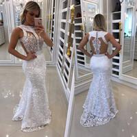 robes de bal de style africain achat en gros de-Robes de soirée en cristal de style africain 2018 Robe de soirée en dentelle blanche sexy à dos de sirène