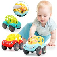 Wholesale Christmas Toy Car - 1pc Baby Plastic Non-toxic Colorful Animals Hand Jingle Shaking Bell Car Rattles Toys Music Handbell For Kids Gift Education Toys