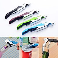 Wholesale stainless steel bottle openers - 2018 Corkscrew wine Bottle Openers multi Colors stainless steel Double Reach Wine beer bottle Opener home kitchen tools