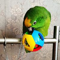 Wholesale bird swings resale online - Pet Bird Bites Toy Parrot Chew Ball Toys For Parrots Swing Cage Hanging Cockatiel brinquedos Birds Toy Bird Supplies