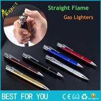 HONEST Ball Point Pen Shape Windproof Gas Lighters Adjustable Green Straight Flame Gas Jet Torch Cigar Lighter Gadgets For Men