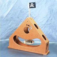 túnel de juego de mascotas al por mayor-Túnel plegable Suministros para mascotas Ratones de plumas Forma Juguete del gato Juego interactivo Puzzle creativo de madera Desgaste resistente Juguetes 39cc jj
