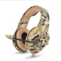telefono de color al por mayor-Ventilador del ejército montado en la cabeza color del ventilador auricular PC computadora ipad teléfono móvil juegos 3.5mm estéreo USB LED alambre trenzado auricular con omnidireccional