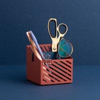 office decor color toptan satış-Çok Fonksiyonlu Metal Ofis Büro Organizatör Yaratıcı Çift Renk için Renkli Saklama Kutusu Sabit / Sundries Kalem Kutusu Dekor