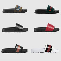 Wholesale Slippers - Designer Rubber slide sandal Floral brocade men slipper Gear bottoms Flip Flops women striped Beach causal slipper with Box US5-11