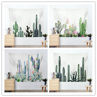 Wholesale green wall planting - photography background props Pastoral Green Plant Cactus Tapestry Wall Decor Hanging Wall Tapestries Carpet Beach blanket Home Decorative