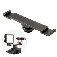 flaş montaj braketi toptan satış-1 adet Çift Sıcak Ayakkabı Dağı Uzatma Bar Siyah Çift Flaş Braketi Micphone LED Gece DSLR Kamera Için 13.9x2.2x3.5 cm