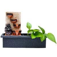 kapalı bonsai toptan satış-MOJESSE Çin Zen Akan Su Süsler Kapalı Su Bonsai Dekorasyon Masaüstü Ofis Dekorasyon Şanslı Dharma Buda Reçine El Sanatları