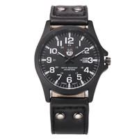 Wholesale vintage army watch - Hot 2017 Superior Vintage Classic Men's Waterproof Date PU Leather Strap Sport Quartz Army Wrist Watch Relogio Masculino Reloj