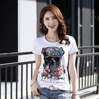 Wholesale Female Skull Shirts - 2018 new Summer women's T-shirt tops tees skull roses Korean female short sleeved T-shirt personality small shirt