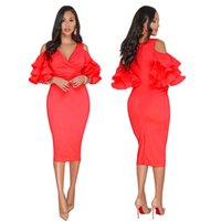 Wholesale red dress ruffle v neck for sale - New Style Temperamental Commuters Women Clothes Sexy Lotus Leaf Agaric Edge Full Casual Dresses Fashion One step Designer Dress