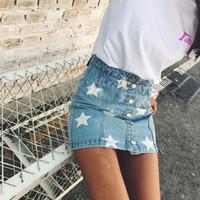 saias jeans para mulheres venda por atacado-Momoluna 2017 mulher star print denim botão de cintura alta saias das mulheres jupe faldas etek jeans rokken Mini A linha gonne saia s m l