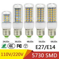 ingrosso b22 luci-E27 E14 24W SMD5730 Lampada a LED 7W 12W 15W 18W 220V 110V Corn Lights Lampadine a LED Lampadario 36 48 56 69 72 LEDs