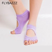 offene massage großhandel-Frauen Graben Loch Baumwolle Yoga Socken Silikagel Rutschfeste Offene spitze Zurück Fünf Finger Socken Damen Massage Sport Atmungsaktiv