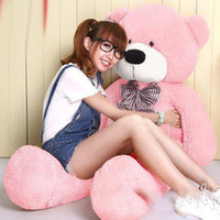 Wholesale toy bear plush large - 160cm Pink Life Size Doll Plush Large Teddy Bear For Sale Giant Big Soft Toys Teddy Bears Valentines Christmas Birthday Day GiftS