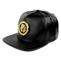 hut könig stil großhandel-Qualität PU Leder Männer Frauen Hip-Hop Hüte Snapback Pharao König Logo Mode-Trend Schnalle Street Rap DJ Stil Schwarz Baseball Caps