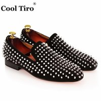 Wholesale blue wedding flip flops - COOL TIRO Handmade Spikes Rivet Mens Loafers Suede Luxury Gentman Dress Shoes Men's Wedding Party Smoking Slippers Flats