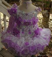 uma mão vestidos venda por atacado-Luxo um colar de ombro frisada feitas à mão flor bola cupcake cupcake toddler meninas pageant vestidos de flores meninas para casamentos glitz