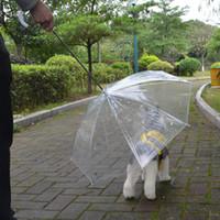 Wholesale Cats Umbrellas - High Quality Transparent Pet Umbrella Portable Built-in Leash Puppy Umbrella Cat RaincoatKeeps Pet Dry Comfortable in Rain