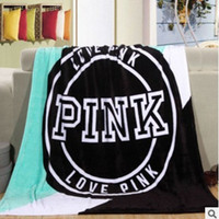 Wholesale car coral for sale - 2018 New Pink Fleece Blankets Throws on Bed Portable Car Air Conditional Sofa Plaid Blanket Soft Bedspreads Bed Cover cm Free Ship