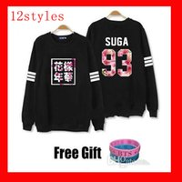 Wholesale Kpop Pullover - Kpop bts hoodies for men women bangtan boys album floral letter printed fans supportive o neck sweatshirt plus size tracksuits