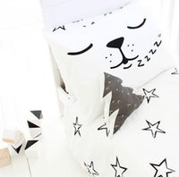 Wholesale girls black bedding - 45 *70cm Pillow Case Baby Black &White Cotton Pillow Covers Kids Boys Girls Bed Cushions Cover Decorative Pillowcase Home Textile