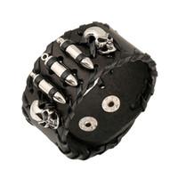 pulseras punk del muchacho al por mayor-Punk rock esqueleto de cuero brazaletes anchos brazaletes para hombre Charm Vintage pulsera joyas chico regalo