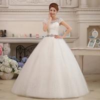 robes de mariage en coréen blanc achat en gros de-Livraison gratuite 2018 nouvelle arrivée style coréen robes de mariée blanche robe de mariée romantique à la mode robe de mariée
