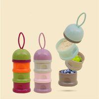 Wholesale Newborn Baby Food - Portable Newborn Baby Milk Powder Box Container Infant Kids Snacks Candy Box Three Layers Babies Food Storage Holder CCA9862 50pcs