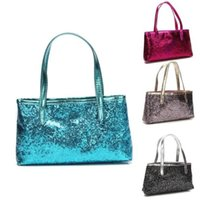 Wholesale small shopping bags wholesale - 4 Colors Girls Mermaid Sequin Totes Bling Glitter Sequins Cosmetics Bags Shopping Casual Spangled Handbags Women Fashion Bags CCA8849 50pcs
