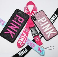 ingrosso cassa del telefono 3d lettera-Love Pink Cell Phone Case Glitter 3D Ricamo TPU Letter Cover per iPhone X XS MAX XR 8 7 Plus 6 Samsung S9 plus note 9 DHL
