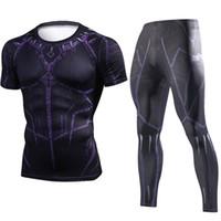 bd8dd37d917c72 Verão Nova Pantera Negra Compressão T Shirt Set Homens Marca Treino 3D  Impressão Conjuntos Dos Homens de Fitness Crossfit Roupas Sportswear Terno
