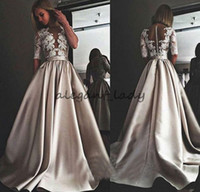 vestidos de cetim zuhair murad venda por atacado-Zuhair Murad 2018 Vestidos de Casamento De Cetim Sexy Sheer Neck Lace Appliqued Boho Vestidos de Noiva Praia Bohemia Vestido de Noiva
