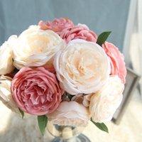 ipek demetleri toptan satış-Ipek Şakayık Paket 5 Kafaları Düğün Çiçekleri Yapay Şakayık DIY Gelin Buketi Çiçek Kız Nedime Çiçek
