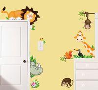 macacos da arte da parede do berçário venda por atacado-autocolantes para miúdos dos desenhos animados adesivos de parede para crianças quarto parede da sala adesivo Nursery decalques enfeites para casa a arte mural de elefante leão macaco Gi ...