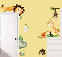 kreş duvar sanatı maymunları toptan satış-Çocuklar için çıkartmalar Karikatür duvar çıkartmaları çocuk odası için Kreş odası sticker duvar çıkartmaları ev dekorasyonu duvar sanat Fil Aslan Maymun Gi ...