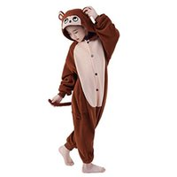 4t onesies al por mayor-Cosplay Niños Unisex Mono Marrón Animal Kigurumi Onesie Pijamas Traje Animal Pijamas Bebé Ropa de dormir