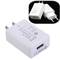 Wholesale mobile travel adapter online – US QC Ac home travel wall charger auto power adapter eu plug V A for iphone x samsung mobile phone android phone mp3