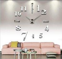 personalizar reloj al por mayor-Decoración del dormitorio engomadas de la pared de bricolaje reloj personalizado Espejo 3D Home pared del reloj del reloj Silencio