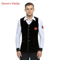 erwachsene tanzspitzen großhandel-Ballroom Dance Wear Womens Waltz / Tango / Ballsaal / Latin Dance Tops für Männer Bühnenshow / Wettbewerbskleidung