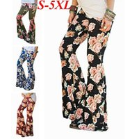 Wholesale bell bottomed trousers - Women's Boho Floral Print Flare Wide Leg Pants Stretch Bell Bottom Pants Trousers S-5XL