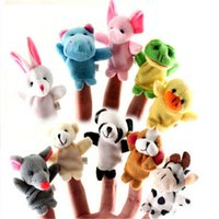 muñeca de muñeca de anime al por mayor-Kawaii Animal Finger Puppet 10 piezas familia Finger Toy Cartoon Anime Placarders muñecas Baby Story Telling para bebé recién nacido