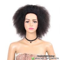 ingrosso parrucca ricci brasiliana afro kinky-Parrucca sintetica riccia Afro Kinky riccia moda calda per le donne nere 100% kanekelon fibra sintetica parrucche brasiliana crochet intrecciare i capelli