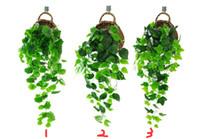 künstlicher hängender efeu großhandel-Künstliche Ivy Silk gefälschte Ivy Blätter hängen Weinblätter Garland für Hochzeit Garten Wand Dekoration (Süßkartoffel Blätter)
