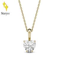 муассанит желтое золото оптовых-Moissanite Engagement Necklaces Certified Charles Colvard 1ct VS DEF Heart Real 18K Желтое золото Diamond Fine Jewelry для женщин