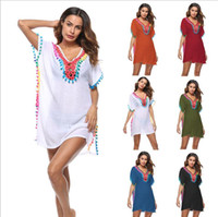 Wholesale girls beach cover - Tassel Bikini Cover ups Sexy Women V-neck Bikini Cover up Swimsuit Beachwear bikini Cover Up Beach Dress 6 color LJJK845