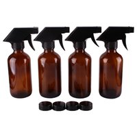 Wholesale Glasses Cleaner Spray - 4pcs 250ml 8OZ Amber Glass Spray Stream Bottle w  black trigger sprayer cap for essential oil empty cosmetic containers cleaning